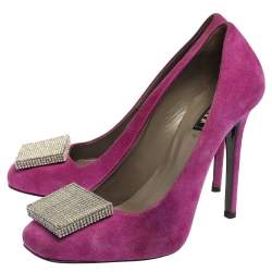 Le Silla Purple Suede Embellished Square Toe Pumps Size 37