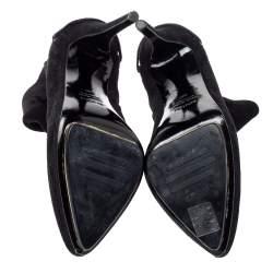 Le Silla Black Suede Lace Detail Heel Ankle Boots Size 40