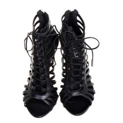 Le Silla Black Leather Cage  Ankle Lace Up Sandals Size 37.5