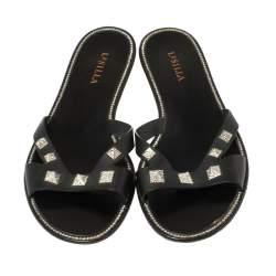 Le Silla Black Leather Studded Flat Slide Sandals Size 40