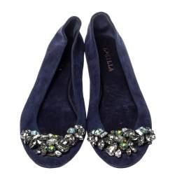 Le Silla Blue Suede Crystal Embellished  Ballet Flats Size 36