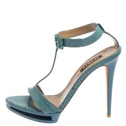Le Silla Blue Croc Embossed Leather Embossed T-Strap Platform Sandals Size 37