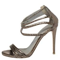 Le Silla Metallic Python Embossed Leather  Ankle Strap Sandals Size 38