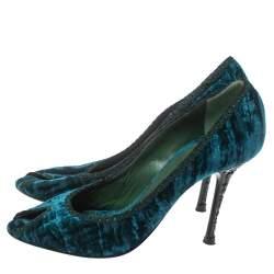 Le Silla Blue/Green Velvet Peep Toe Pumps Size 37