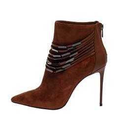 Le Silla Brown Suede Strap Embellished Ankle Booties Size 37