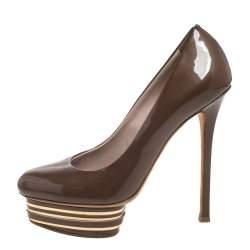Le Silla Brown Patent Leather Slip On Platform Pumps Size 36