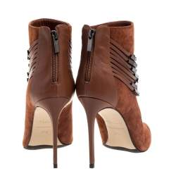 Le Silla Brown Suede Strap Embellished Ankle Booties Size 37.5
