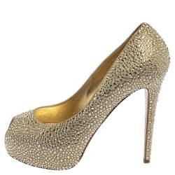 Le Silla Metallic Gold Leather Crystal Embellished  Peep Toe Platform Pumps Size 40