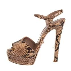 Le Silla Brown/Beige Python Ankle Strap Platform Sandals Size 40.5