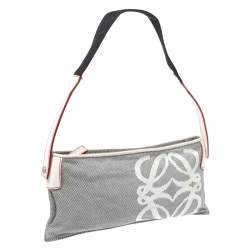 Loewe Grey/White Canvas and Leather Small Shoulder Bag
