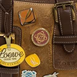 Loewe Brown Badge Suede and Leather 160th Anniversary Satchel