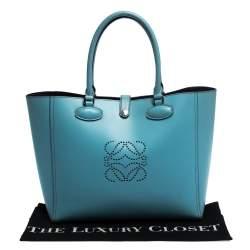 Loewe Light Blue Perforated Logo Leather Leo Tote