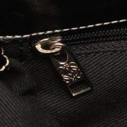 Loewe Grey/Black Leather trimmed Anagram Canvas Crossbody Bag