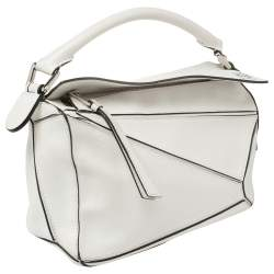 Loewe White Leather Small Puzzle Shoulder Bag