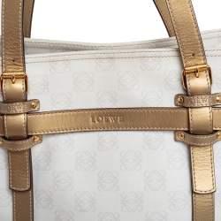 حقيبة يد لويفى جلد وكانفاس آناغرام ذهبية / بيضاء