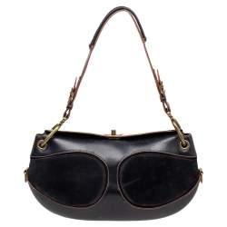 Loewe Black Leather And Suede Shoulder Bag