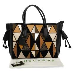 Longchamp Black/Multicolor Leather and Suede Medium Penelope Arty Tote