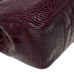 Longchamp Burgundy Crocodile Embossed Leather Roseau Tote