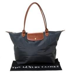 Longchamp Dark Grey Nylon and Leather Medium Le Pliage Tote