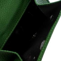 Longchamp Green Leather Flap Compact Wallet