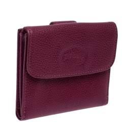 Longchamp Magenta Leather Flap Compact Wallet