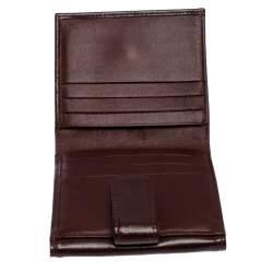 Longchamp Maroon Leather Roseau Compact Wallet