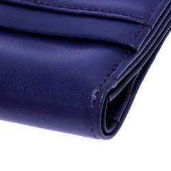 Longchamp Purple Leather Flap Button Compact Wallet