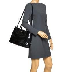 Longchamp Black Patent Leather Roseau Tote
