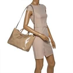 Longchamp Beige Patent Leather Roseau Tote