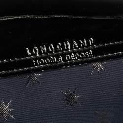 Longchamp Navy Blue/Black Star Print Nylon and Patent Leather Medium Le Pliage Tote
