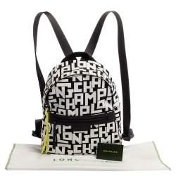 Longchamp Black/White Nylon and Leather Le Pliage Backpack