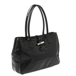 Longchamp Black Glaze Croc Embossed Leather Roseau Tote