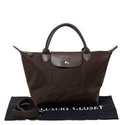 Longchamp Dark Brown Nylon Le Pliage Neon Tote