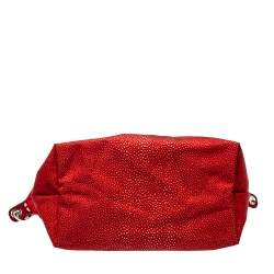 Longchamp Red Stingray Print Nylon and Patent Leather Le Pliage Neo Tote