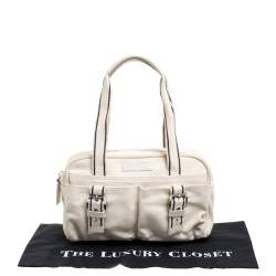 Longchamp Cream Canvas Double Pocket Satchel
