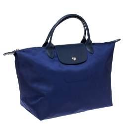 Longchamp Blue Nylon and Leather Le Pliage Neo Tote