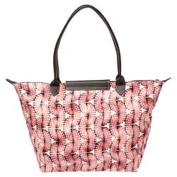 Longchamp Pink/Brown Fabric and Leather  Surf and The City Le Pliage Tote