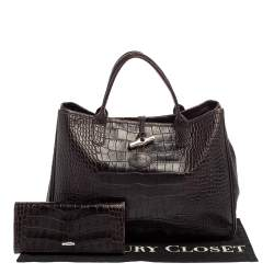 Longchamp Brown Glaze Croc Embossed Leather Roseau Tote