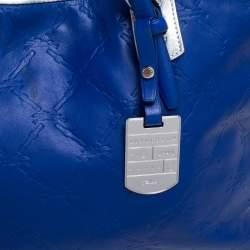 Longchamp Blue/Silver Leather Medium LM Cuir Shopper Tote