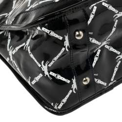Longchamp Black Printed Patent Leather Satchel