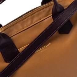 Longchamp Tan /Plum Leather Zip Detail Expandable Satchel