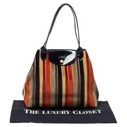 Longchamp Multicolor Stripe Velvet and Patent Leather Tote