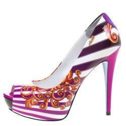 Loriblu Multicolor Print Patent Leather Peep Toe Pumps Size 40