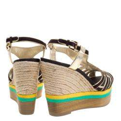 Loriblu Tricolor Suede And Leather Wedge Espadrille Platform Sandals Size 40