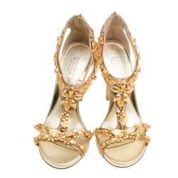 Loriblu Bijoux Beige Satin Floral Embellished Crystal Studded Sandals Size 36