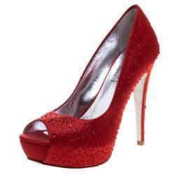 Loriblu Red Crystal Studded Satin Peep Toe Pumps Size 38