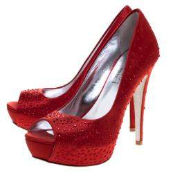 Loriblu Red Crystal Studded Satin Peep Toe Pumps Size 38