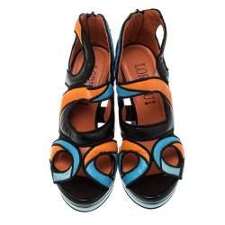 Loriblu Multicolor Cut Out Leather Platform Sandals Size 36