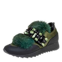 Loriblu Green/Black Satin And Fur Crystal Embellished Sneakers Size 38