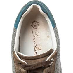 Loro Piana Grey/Blue Suede And Fabric Low Top Sneaker Size 36